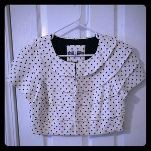 Tops - Black and white polka dot crop jacket